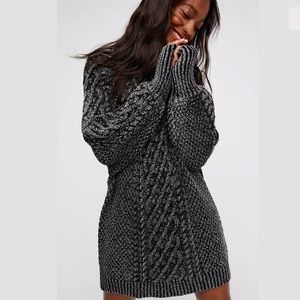 FREE PEOPLE XS ON A BOAT SWEATER DRESS CABLE KNIT